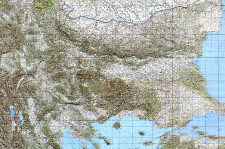 Bgtopovj Vector Topographic Map Of Bulgaria And Environs