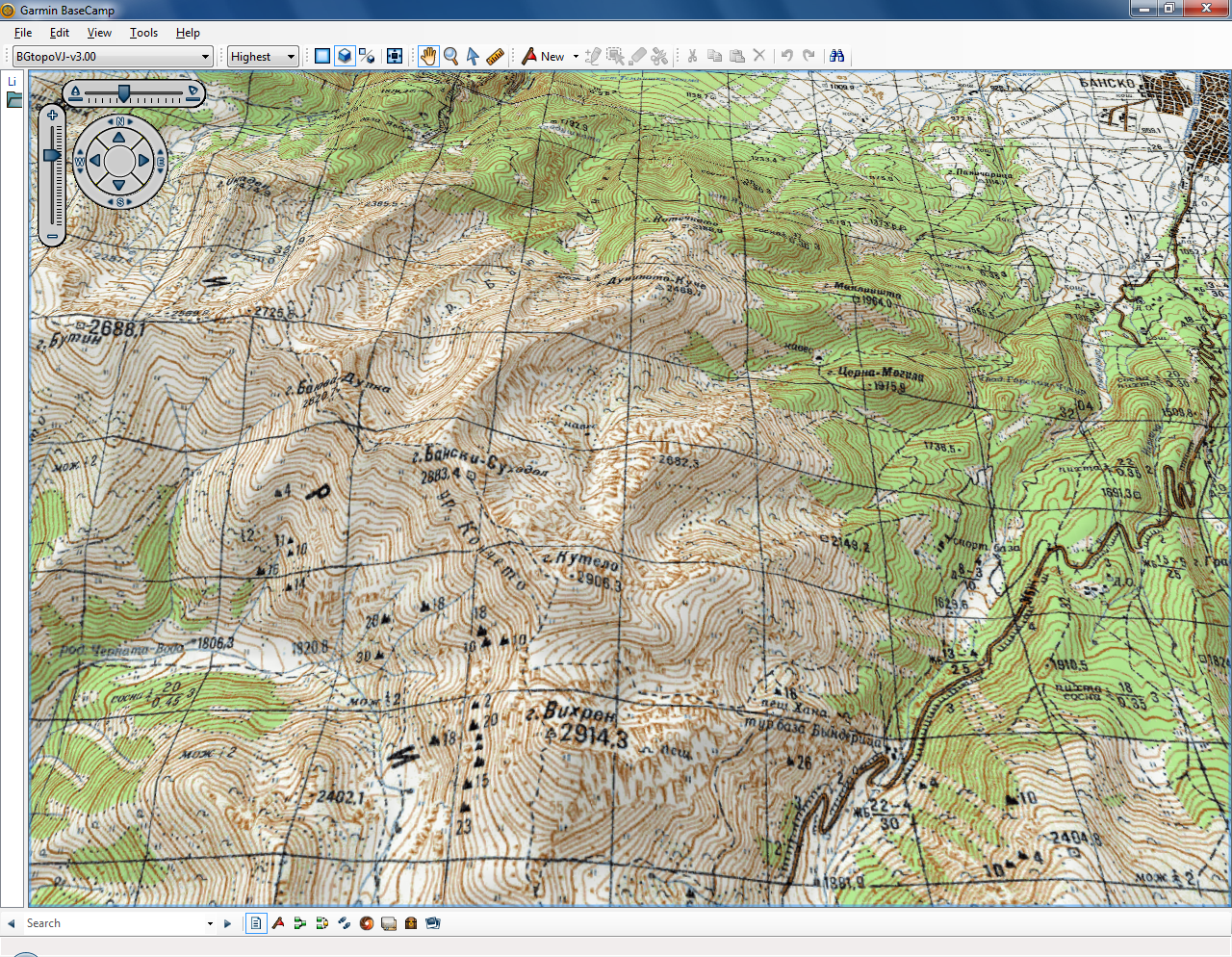 BGtopoVJ • Vector topographic map of Bulgaria and environs