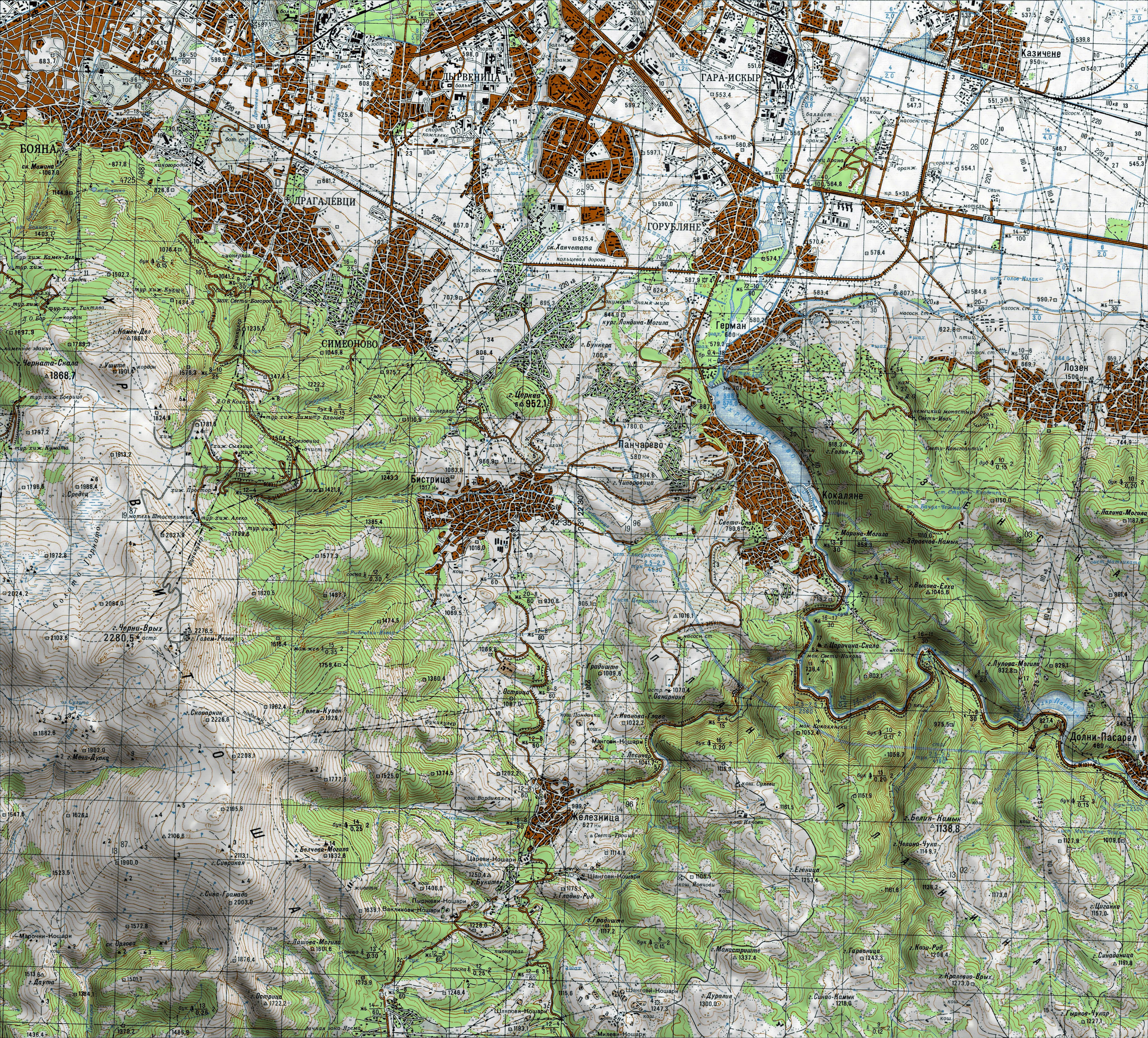 Bgtopovj Vector Topographic Map Of Bulgaria And Environs K 34