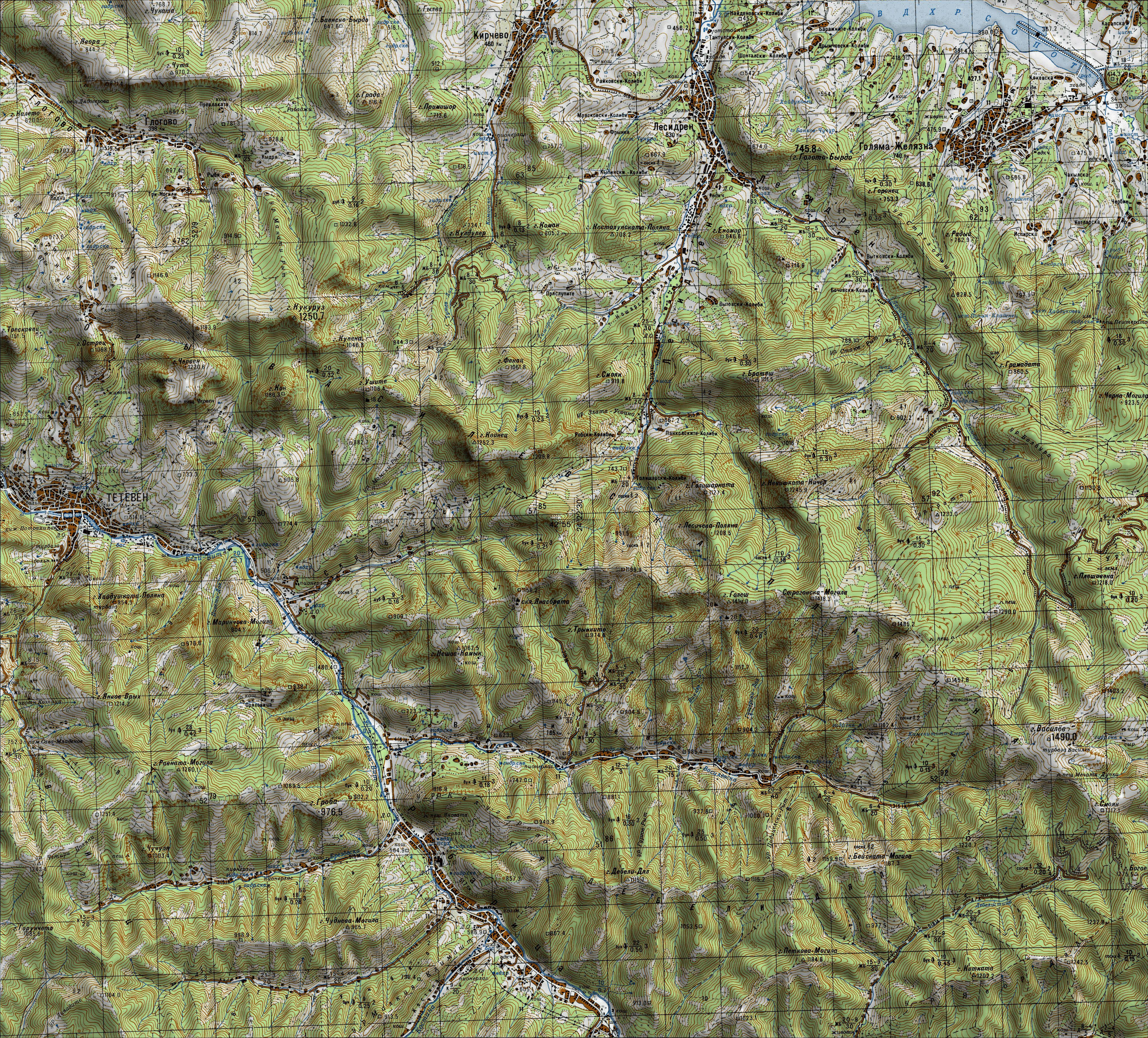 Bgtopovj Vektorna Topografska Karta Na Blgariya I Okolnostite